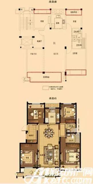 中梁宣州壹号院洋房B1户型4室2厅130平米
