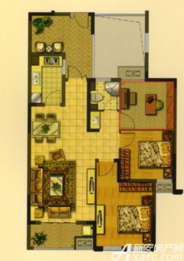 华夏湖畔御苑C2户型3室2厅96.71平米