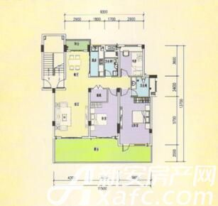 三一亚龙湾H1户型3室2厅129.57平米