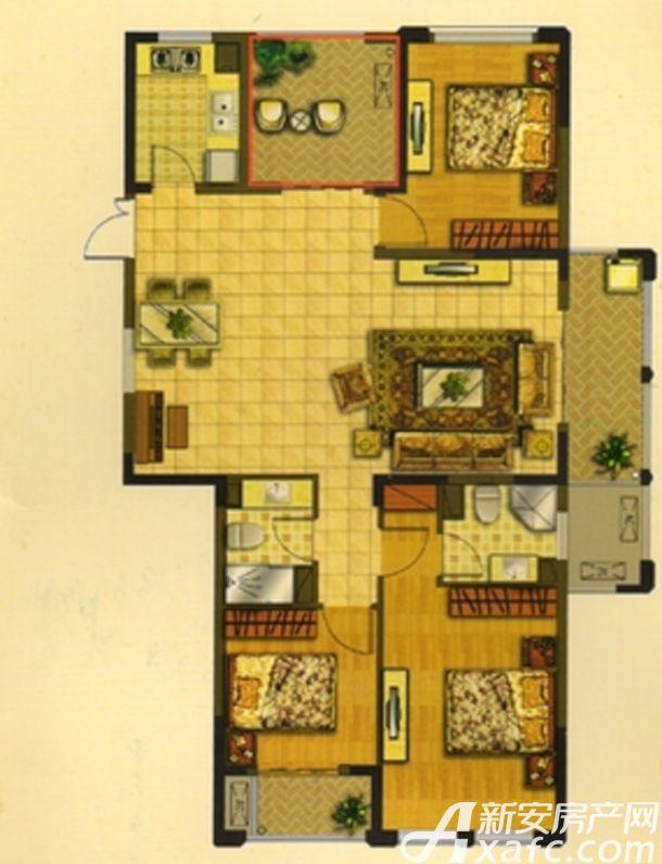 华夏湖畔御苑C1户型3室2厅123.95平米