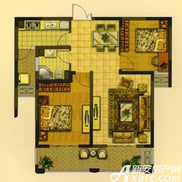 华夏湖畔御苑A2户型2室2厅88.02平米