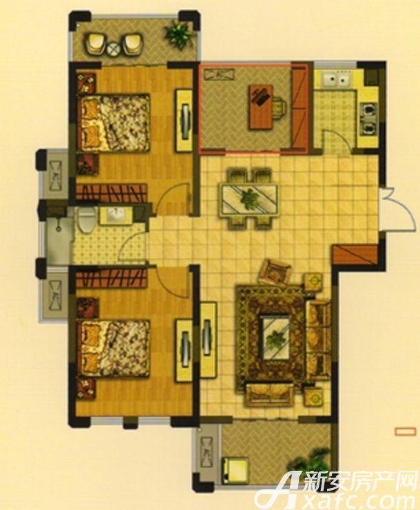 华夏湖畔御苑A1户型3室2厅102.5平米