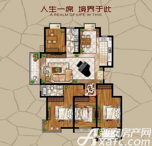 长江公园国际A户型4室2厅150.48平米