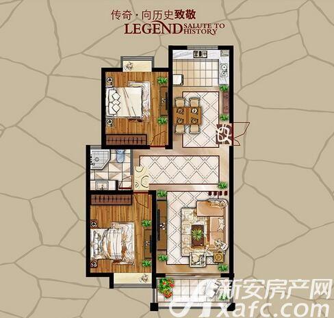 长江公园国际D户型2室2厅105.72平米