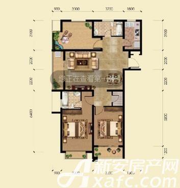 敬亭春晓B1户型2室2厅114.32平米