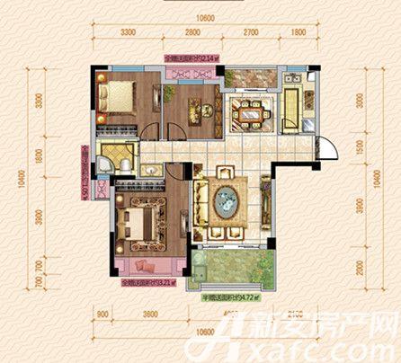 公园道壹号11#E1户型3室2厅103.13平米