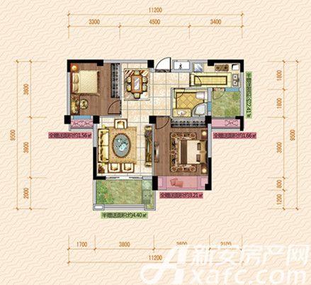 公园道壹号11#C1户型2室2厅88.47平米