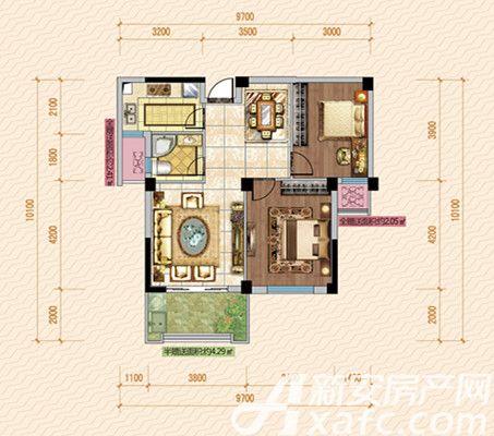 公园道壹号10#C1户型2室2厅83.7平米