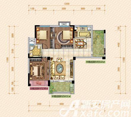 公园道壹号10#B1户型3室2厅106.22平米