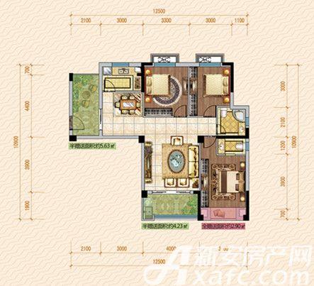 公园道壹号10#A1户型3室2厅110.93平米