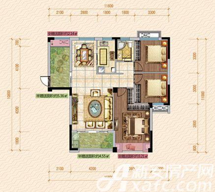 公园道壹号11#B1户型3室2厅118.84平米