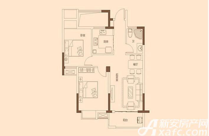 金色里程C户型2室2厅79.17平米