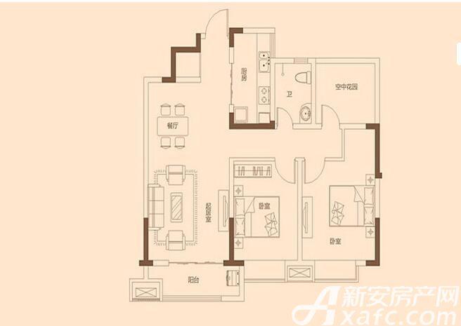 金色里程B户型3室2厅97.82平米