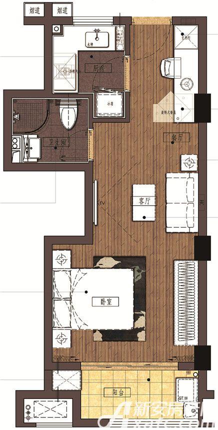 信达蓝湖郡C户型1室1厅47平米
