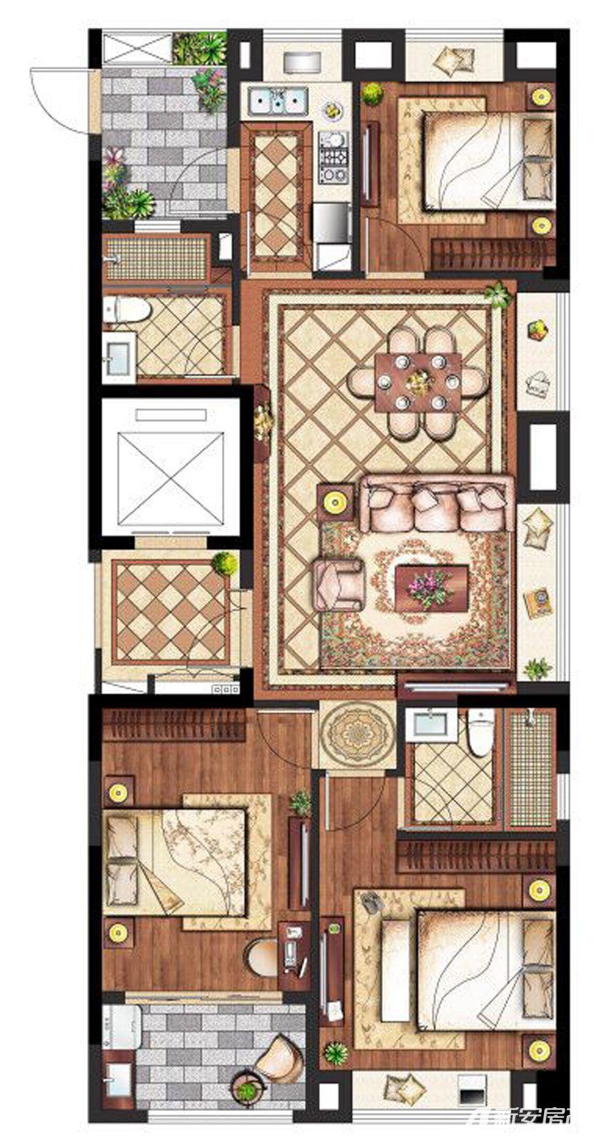 置地·康熙左岸高层118平米3室2厅118平米