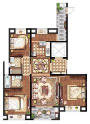 置地·康熙左岸高层130平米3室2厅130㎡