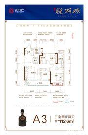 古井悦湖城A3户型3室2厅112.6㎡