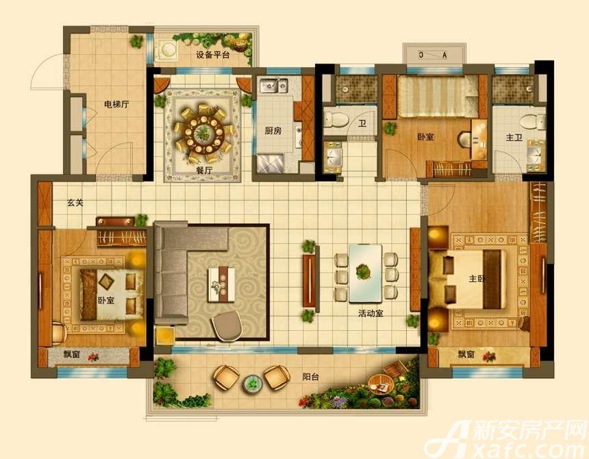 碧桂园•钻石湾YJ140T(18F)4室2厅140平米