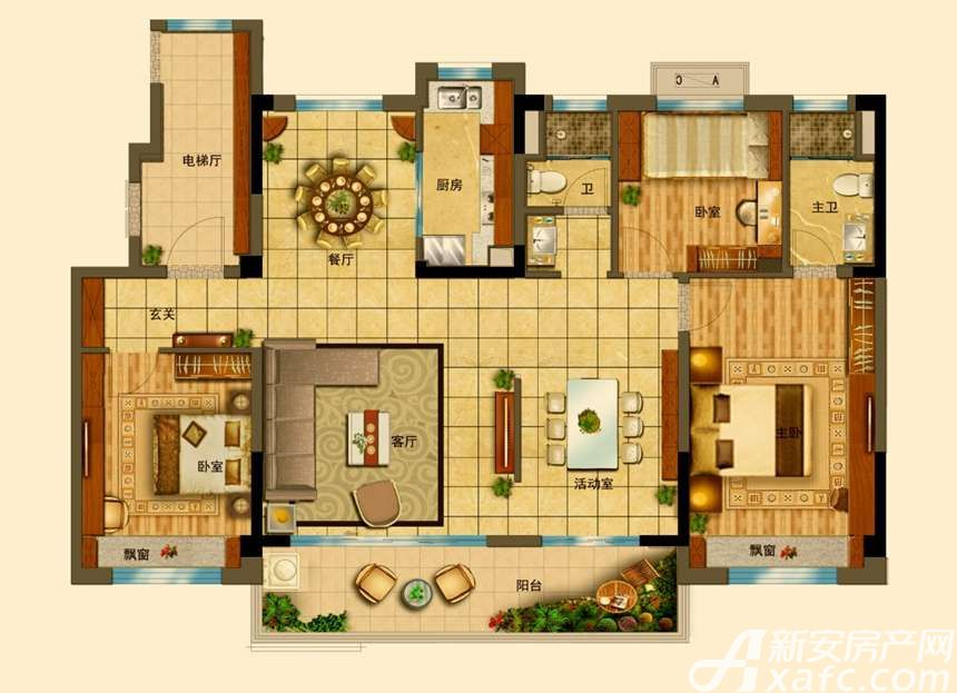 碧桂园•钻石湾YJ140T(11F)4室2厅140平米
