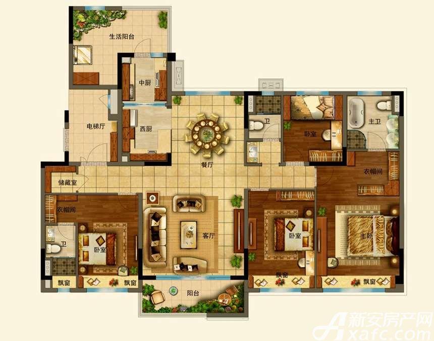 碧桂园•钻石湾YJ180T-44室2厅180平米