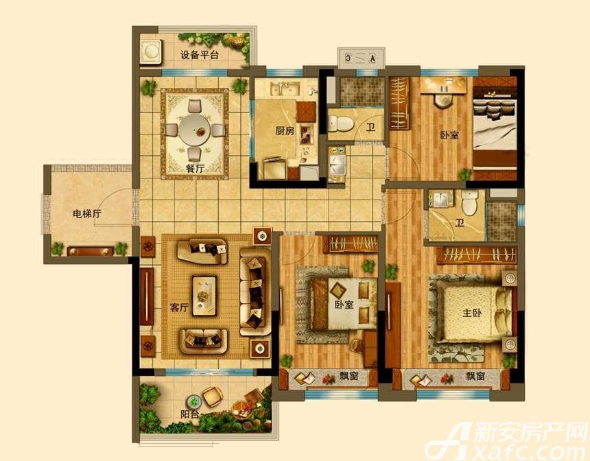 碧桂园•钻石湾YJ118T-C3室2厅118平米