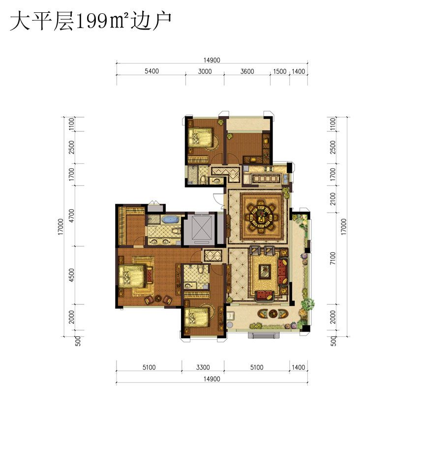 蓝光雍锦半岛大平层199㎡边户4室2厅199平米