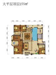 蓝光雍锦半岛大平层顶层4室2厅275㎡