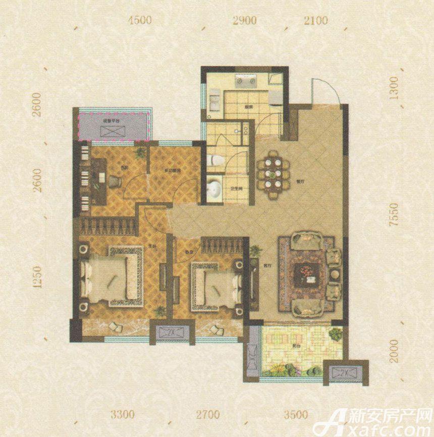 悦湖别院B户型4室2厅98平米