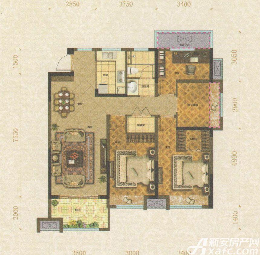 悦湖别院A户型4室2厅122平米