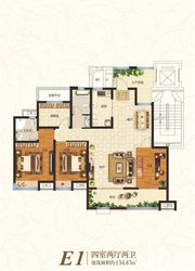 众发·阳光水岸E1户型4室2厅134.47㎡