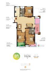 和顺名都城13#b1户型图3室2厅115.74㎡