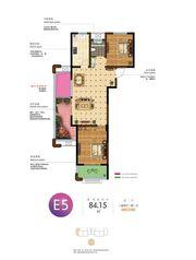 和顺名都城13#E5户型2室2厅84.15㎡