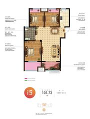 和顺名都城13#I5户型3室2厅101.73㎡