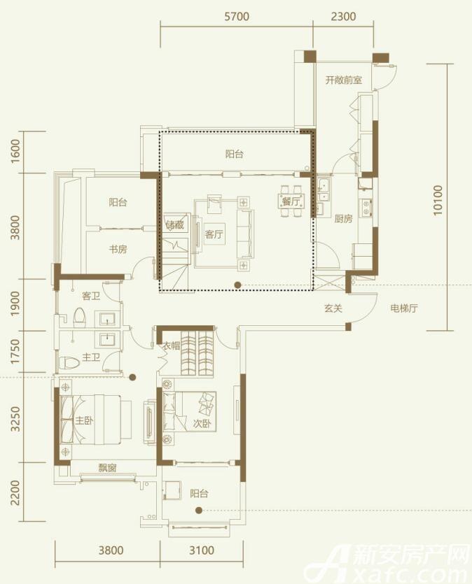 鼎元学府A3室2厅133平米