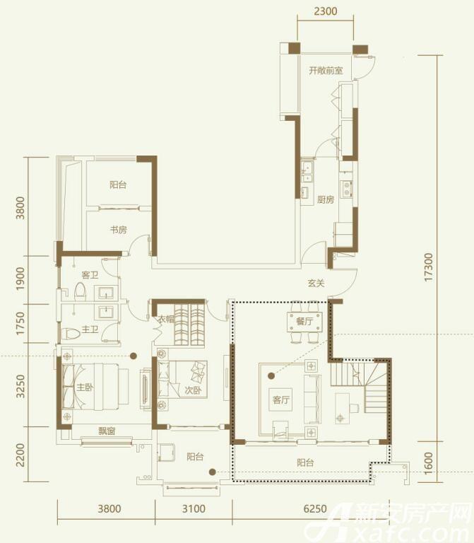 鼎元学府B3室2厅139平米