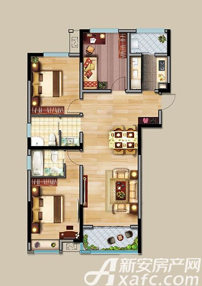 中航长江广场9#楼A户型3室2厅126.96平米