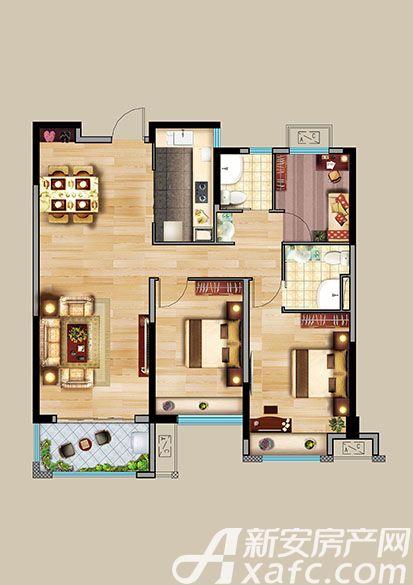 中航长江广场9#楼B户型3室2厅113.84平米