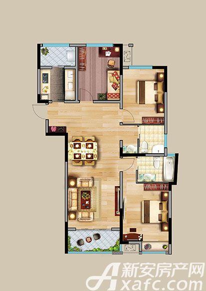中航长江广场9#楼A'户型3室2厅125.8平米