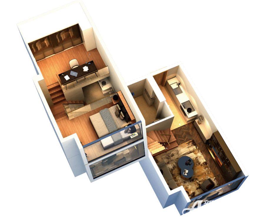 复地南都荟B户型2室1厅42平米