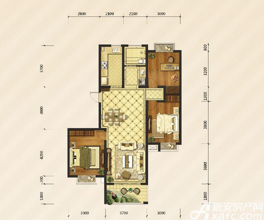 御溪雅苑F户型3室2厅113平米