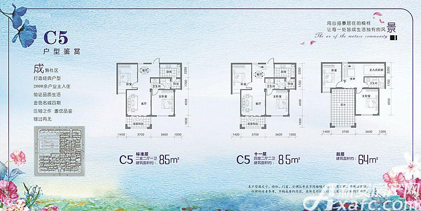 金色名城C5户型2室2厅85平米