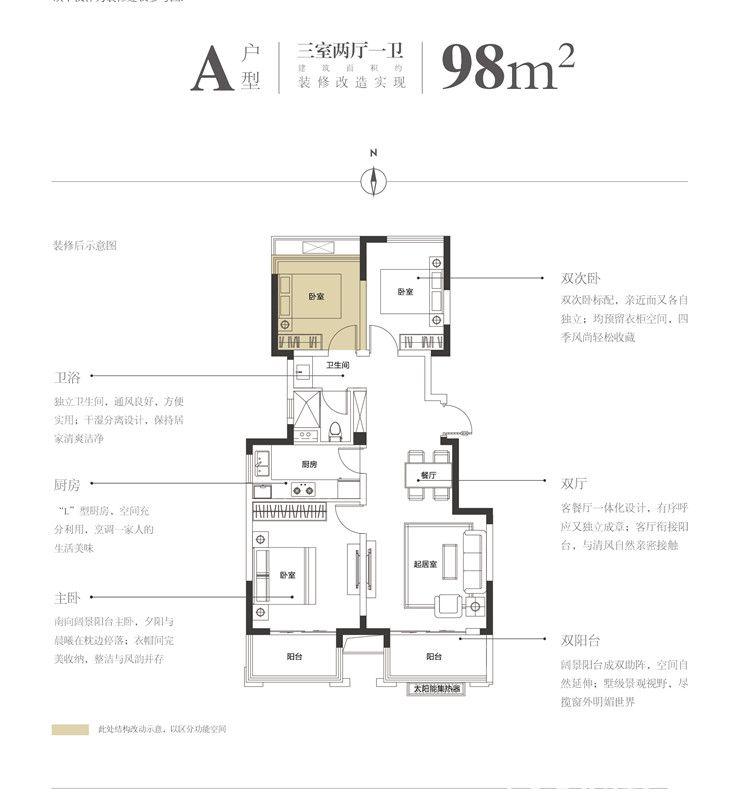新城桃李郡A户型3室2厅98平米