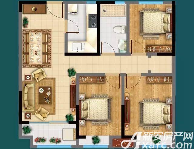 广源·缤纷城D户型3室2厅100.47平米