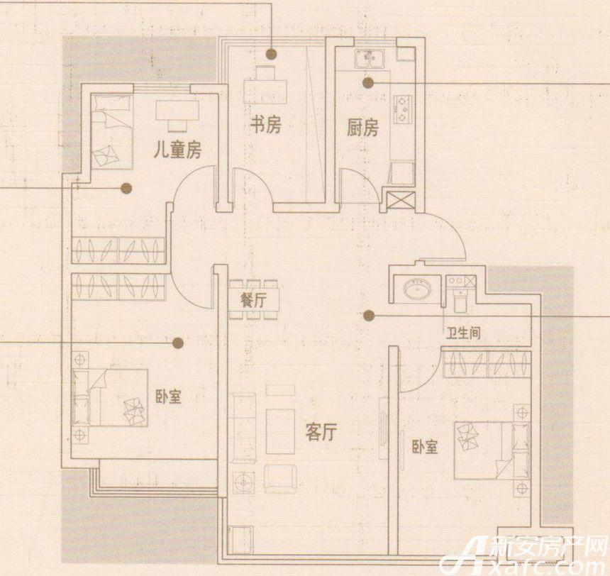 文德凯旋门Y2户型4室2厅95平米