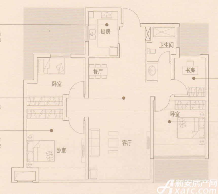 文德凯旋门G2户型4室2厅95平米