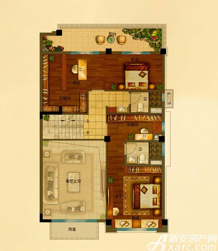 碧桂园•钻石湾上叠198㎡户型上层2室198平米