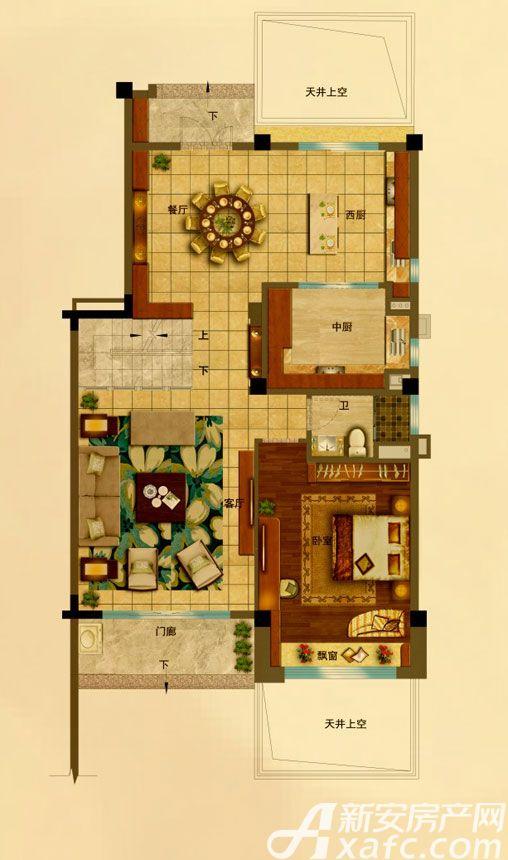 碧桂园•钻石湾下叠191㎡下层1室2厅191平米