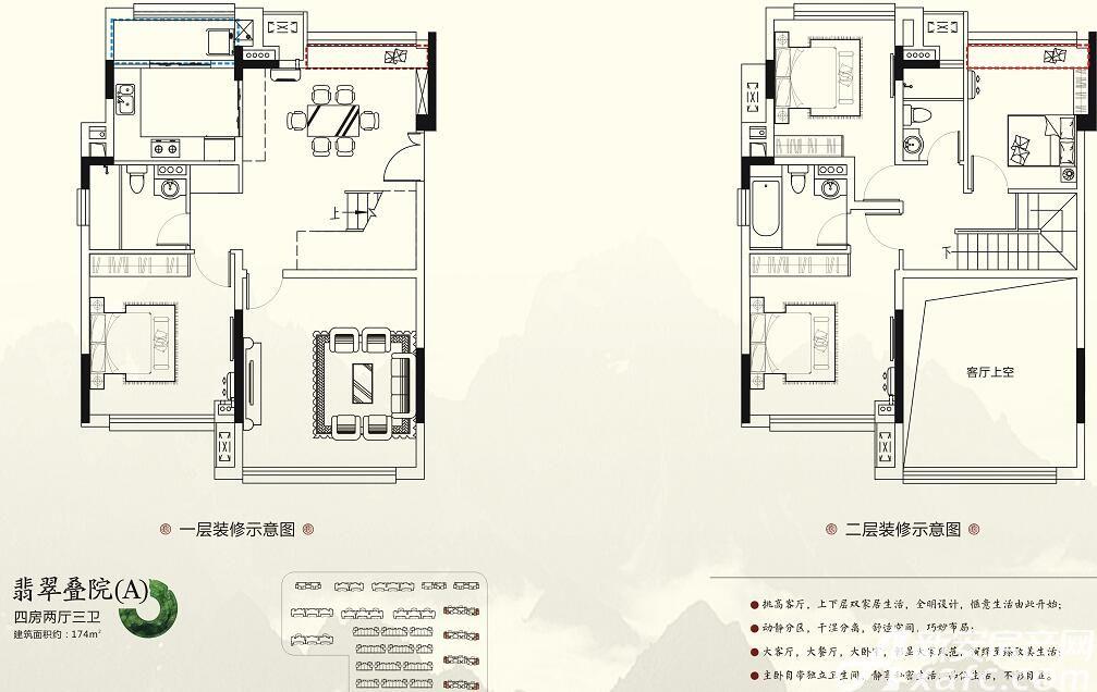 珠江翰林雅院A户型4室3厅174平米