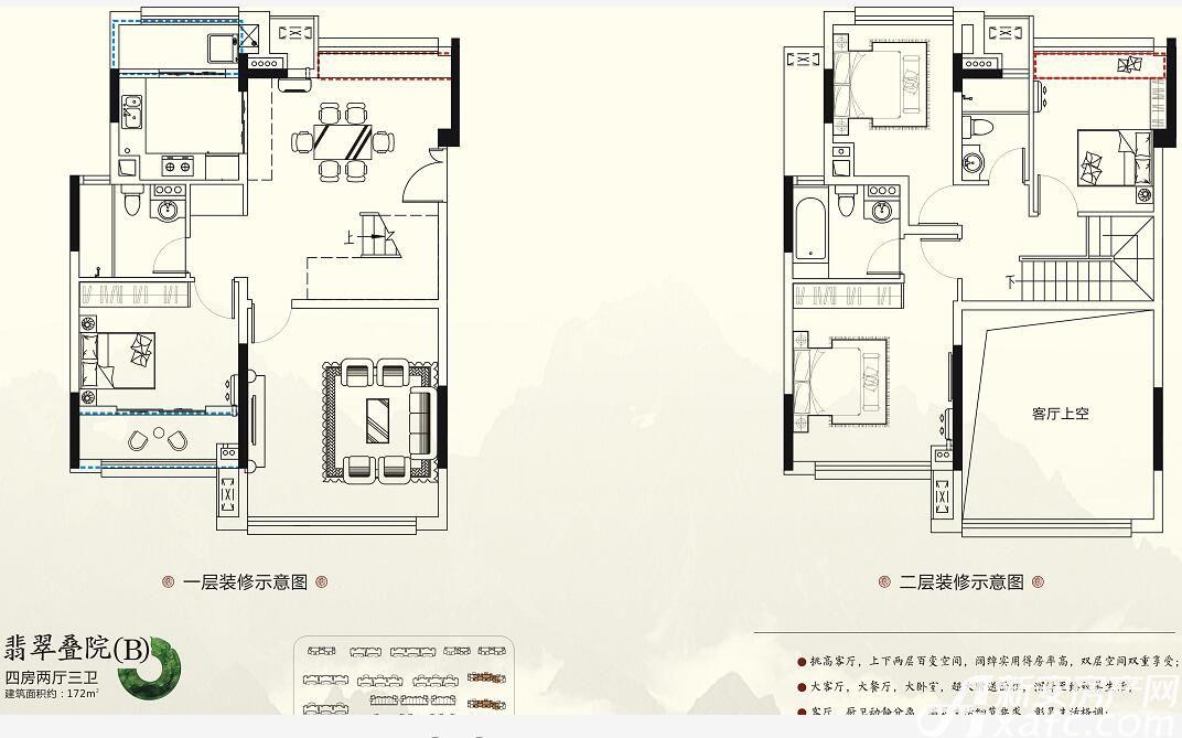 珠江翰林雅院B户型4室2厅172平米