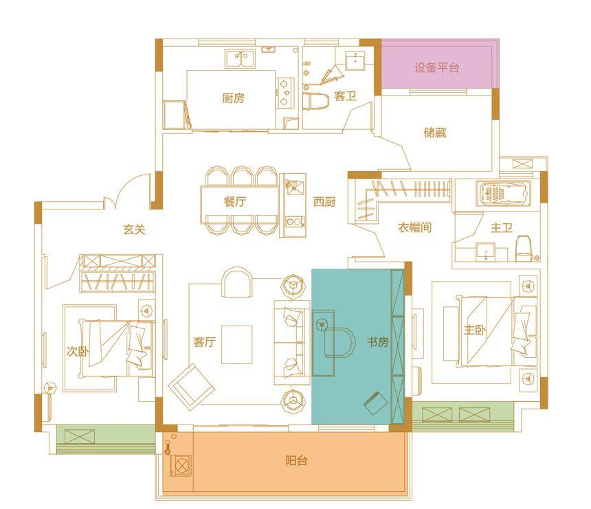 鹭山湖Y2户型4室2厅140平米
